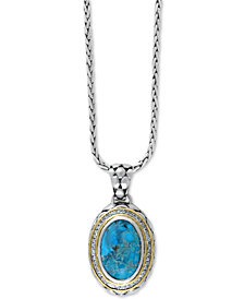 Turquesa by EFFY Manufactured Turquoise (8-9/10 ct. t.w.) and White Sapphire (5/8 ct. t.w.) Pendant Necklace in Sterling Silver and 18k Gold