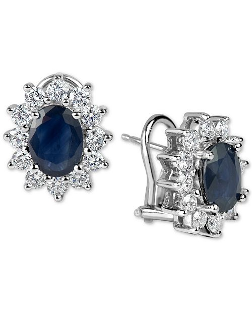 Macy's Sapphire (3 ct. t.w.) and Diamond (1-1/5 ct. t.w.) Earrings in 14k White Gold