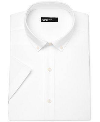 Bar III Men's Slim-Fit White Oxford Short-Sleeve Dress Shirt, Only at Macy's