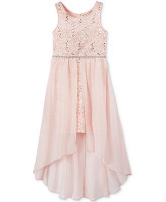 Crystal Doll Chiffon High Low Overlay Dress Big Girls 7