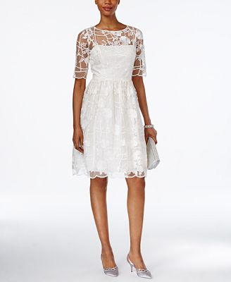 Adrianna Papell Short-Sleeve Floral-Embroidered A-Line Dress