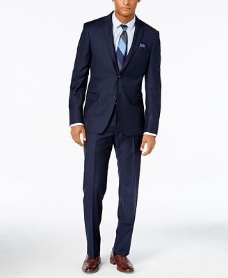 DKNY Navy Solid Extra-Slim-Fit Suit - Suits & Suit Separates - Men ...