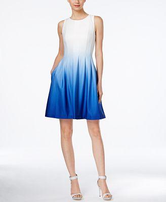 Calvin Klein Sleeveless Ombré Fit & Flare Dress