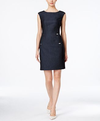 Calvin Klein Embellished Denim Sheath Dress - Dresses - Women - Macy's