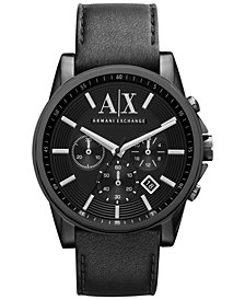 A|X Armani Exchange Men's Black Leather Strap Watch 45mm AX2098