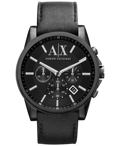 A|X Armani Exchange Men's Black Leather Strap Watch 45mm AX2098