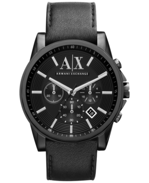 AX Armani Exchange Men's Black Leather Strap Watch 45mm AX2098