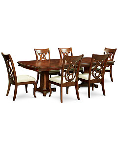 Bordeaux Double Pedestal 7 Pc Dining Set Table 6 Side Chairs