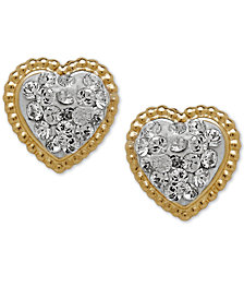Children's 14k Gold Earrings, Crystal Heart Earrings