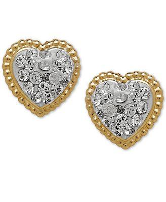 Macy S Children S 14k Gold Earrings Crystal Heart Earrings