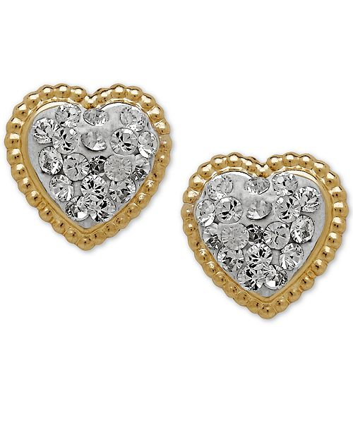 1aeef6a47 ... Macy's Children's 14k Gold Earrings, Crystal Heart Earrings ...