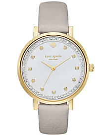 kate spade new york Women's Monterey Clocktower Gray Leather Strap Watch 38mm KSW1131