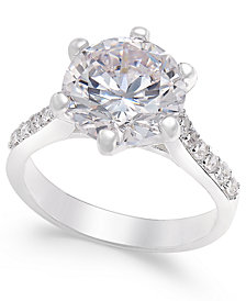 Charter Club Silver-Tone Round Crystal Ring, Created for Macy's