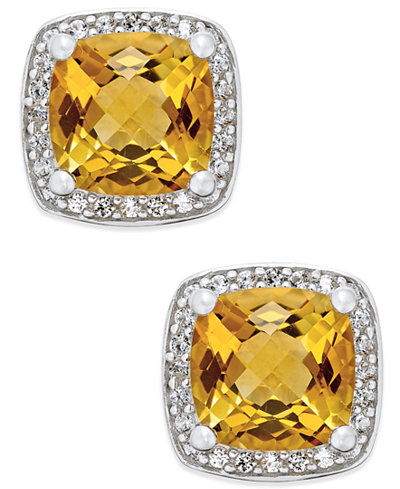 Citrine (1-3/4 ct. t.w.) and Diamond (1/8 ct. t.w.) Halo Stud Earrings in Sterling Silver