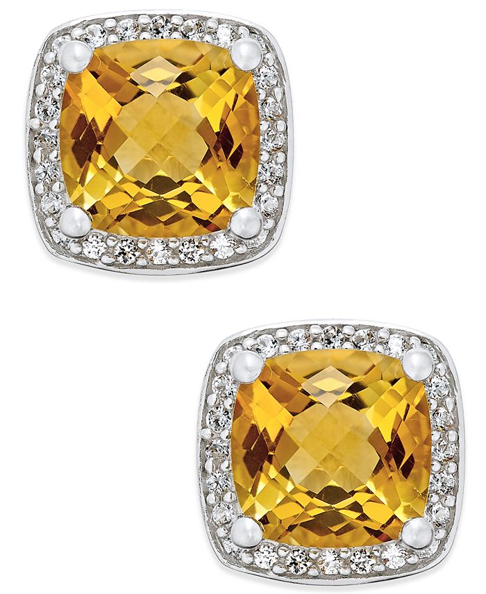 Macy's - Citrine (1-3/4 ct. t.w.) and Diamond (1/8 ct. t.w.) Halo Stud Earrings in Sterling Silver