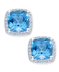 Blue Topaz (2 ct. t.w.) and Diamond (1/8 ct. t.w.) Halo Stud Earrings in Sterling Silver