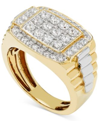 Mens Diamond Cluster TwoTone Ring 1 ct tw in 10k Gold White