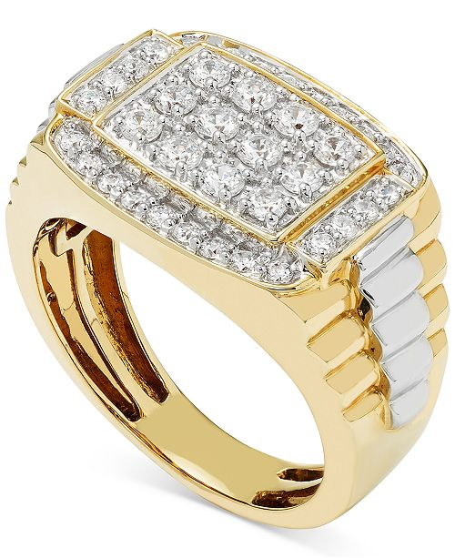 Macy's Men's Diamond Cluster Two-Tone Ring (1 ct. t.w.) in 10k Gold & White Gold