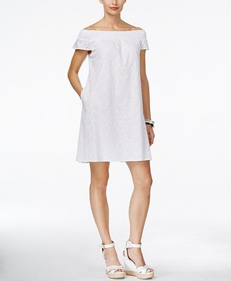 Tommy Hilfiger Off-The-Shoulder Eyelet Shift Dress
