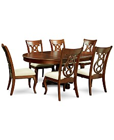 Bordeaux Pedestal Round 7 Pc Dining Room Set Table 6 Side
