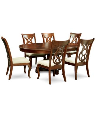Bordeaux Pedestal Round 7 Pc. Dining Room Set (Dining Table U0026 6 Side