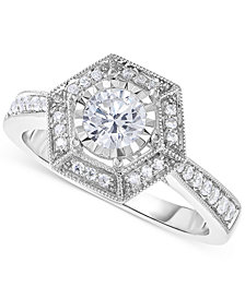 Trumiracle® Diamond Vintage-Inspired Engagement Ring (5/8 ct. t.w.) in 14k White Gold