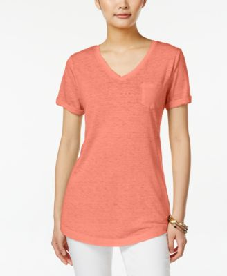 Image of Style & Co V-Neck Burnout Pocket T-Shirt, Only at Macy's