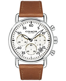 COACH Men's Chronograph Delancey Brown Leather Strap Watch 42mm 14602104