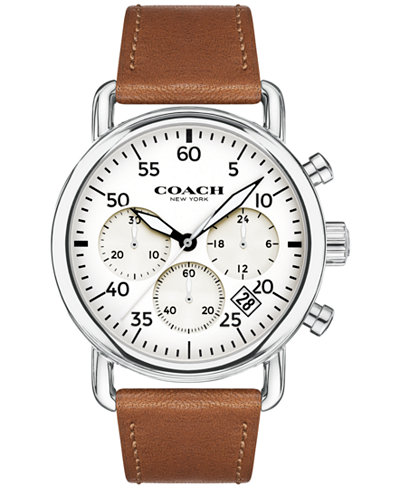 COACH Men's Chronograph Delancey Brown Leather Strap Watch 42mm 14602104