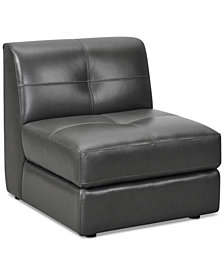 "CLOSEOUT! Fabrina 31"" Leather Armless Chair, Created for Macy's"