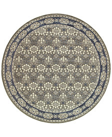 "Oriental Weavers Richmond Royal Garden Grey/Navy 7'10"" Round Rug"