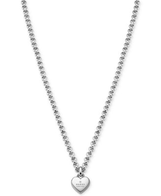 fdef3e3eff0 Gucci Women s Sterling Silver Trademark Heart Pendant Necklace  YBB35622500100U   Reviews - Watches - Jewelry   Watches - Macy s