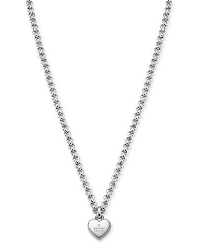 Gucci Women's Sterling Silver Trademark Heart Pendant Necklace YBB35622500100U