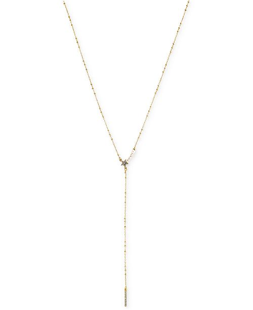 BCBGeneration Gold-Tone Imitation Pearl, Star and Pavé Bar Y-Neck Necklace
