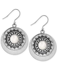 Silver-Tone Imitation Pearl Star Disc Drop Earrings