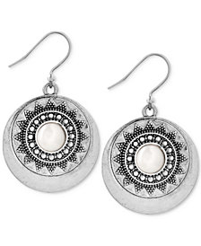 Lucky Brand Silver-Tone Imitation Pearl Star Disc Drop Earrings