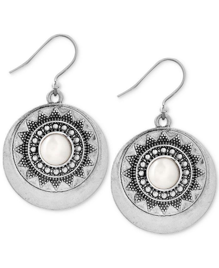 Lucky Brand - Silver-Tone Imitation Pearl Star Disc Drop Earrings