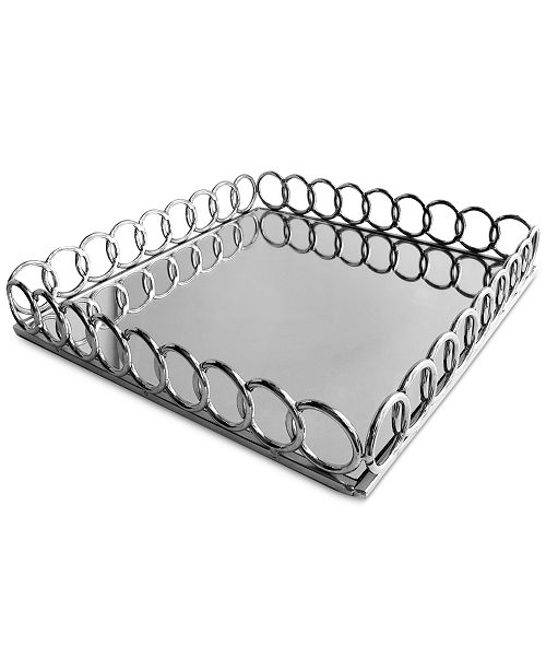 Jay Imports Square Link Mirrored Tray