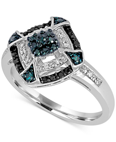 Diamond Multicolor Statement Ring (1/6 ct. t.w.) in Sterling Silver