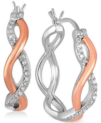 Macy S Diamond Two Tone Twisted Hoop Earrings 1 8 Ct T W