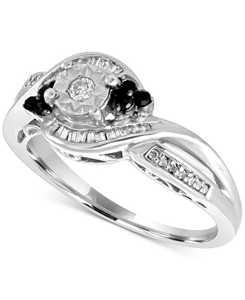 Macy's Diamond Twist Ring (1/4 ct. t.w.) in Sterling Silver