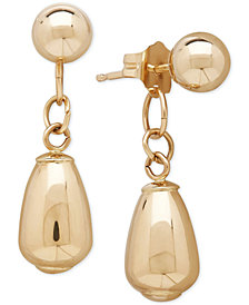 Polished Stud and Drop Earrings in 10k Gold, 7/8 inch