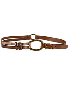 Lauren Ralph Lauren Vachetta Tri-Strap Leather Belt