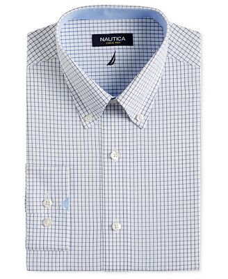 Nautica Navy and White Check Dress Shirt - Dress Shirts - Men - Macy's