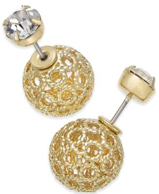 Image of INC International Concepts Filigree Spheres and Crystal Stud Reversible Earrings, Only at Macy's