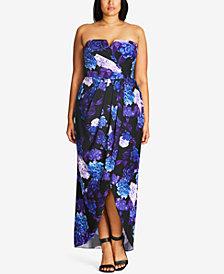 City Chic Plus Size Floral-Print Convertible Maxi Dress