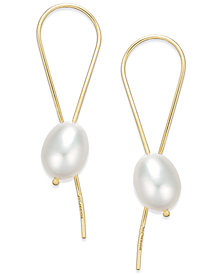 Freshwater Pearl (10mm) Threader Earrings in 22k Gold Over Sterling Silver