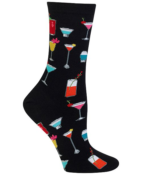 Hot Sox Women's Tropical Drinks Fashion Crew Socks