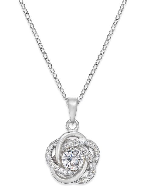 giani bernini cubic zirconia love knot pendant necklace in sterling