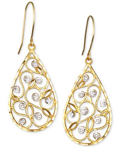 Two-Tone Filigree Teardrop Drop Earrings in 10k Gold
